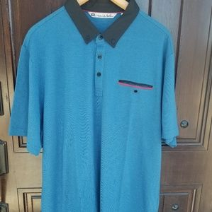 Travis Mathew Men's Golf Polo Shirt XL Blue Rare